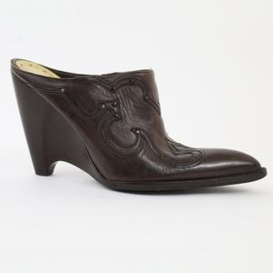BCBGirls Cowboy Boot Ankle Wedges Leather Brown